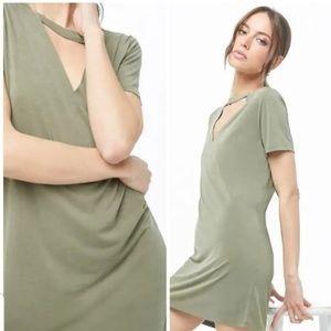 Audrey 3+1 Sage V Neck Cutout Swing Dress NWT
